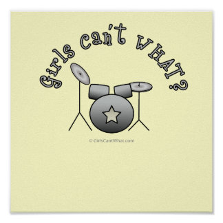 Drum Set - Silver Poster