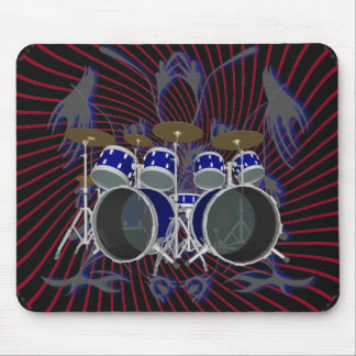 Drum Set & Spiral Graphics: Mousepad: Blue & Red Mouse Pad