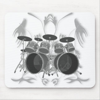 Drum Set & Tribal Artwork (b & w) - Mousepad
