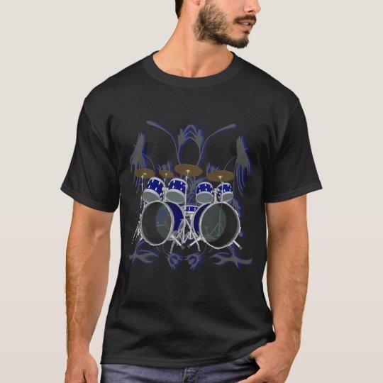 Drum Set & Tribal Artwork (blue) - Black T-Shirt