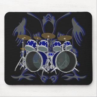 Drum Set & Tribal Artwork (blue) - Mousepad