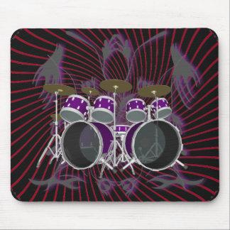 Drum Set & Tribal Artwork: Mousepad: Purple Mouse Pad