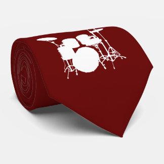 Drum Set White Silhouette Necktie