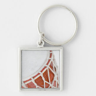 Drum Silver-Colored Square Keychain