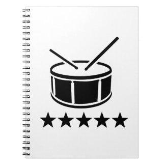 Drum stars spiral notebook