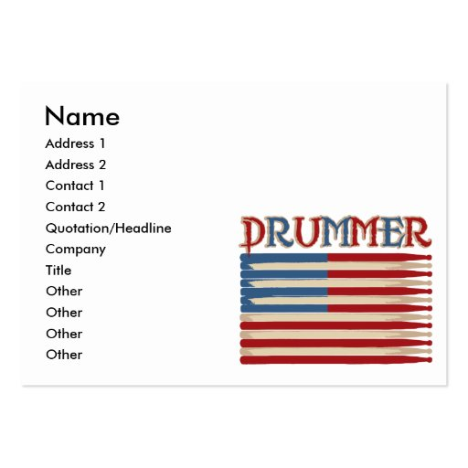 Drum stick usa flag drummer tees and gifts large business for Drummer business cards