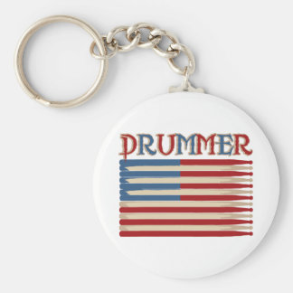 Drum Stick USA Flag Drummer Tees and Gifts Keychain