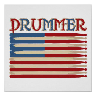 Drum Stick USA Flag Drummer Tees and Gifts Poster