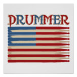 Drum Stick USA Flag Drummer Tees and Gifts Posters