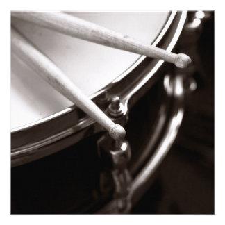Drum Sticks on Snare Black and White Personalized Invite