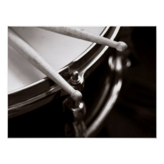 Drum Sticks on Snare Black and White Poster