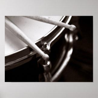 Drum Sticks on Snare Black and White Print