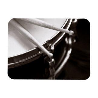 Drum Sticks on Snare Black and White Rectangular Photo Magnet