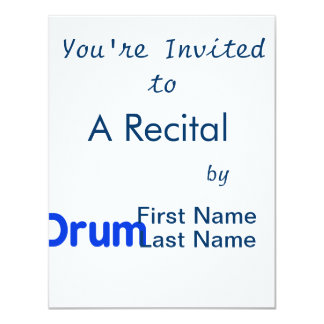 drum text blue music design 4.25x5.5 paper invitation card