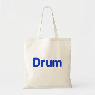 drum text blue music design budget tote bag