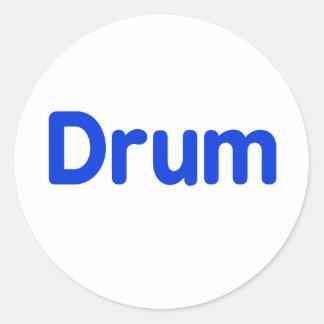 drum text blue music design classic round sticker