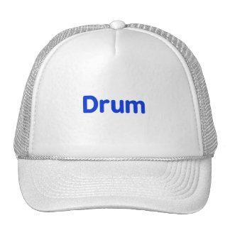 drum text blue music design mesh hat
