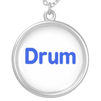 drum text blue music design silver plated necklace