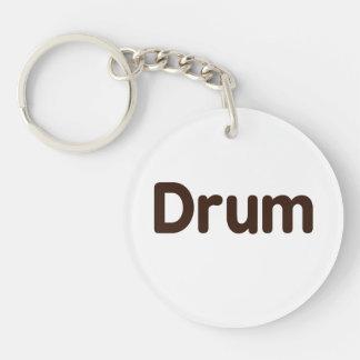 drum text brown music design round acrylic key chain