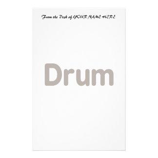 drum text brown music design stationery