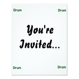 drum text green music design 4.25x5.5 paper invitation card