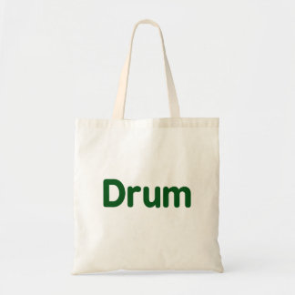 drum text green music design budget tote bag