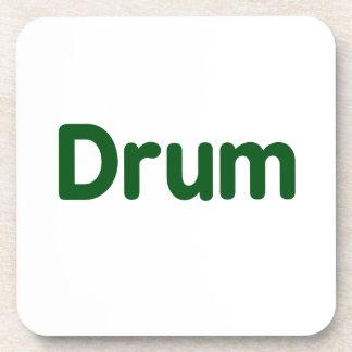 drum text green music design coaster