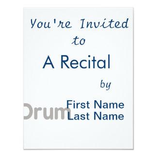 drum text grey music design 4.25x5.5 paper invitation card