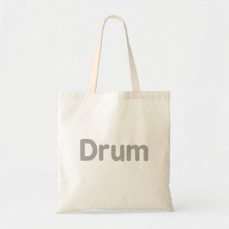 drum text grey music design budget tote bag