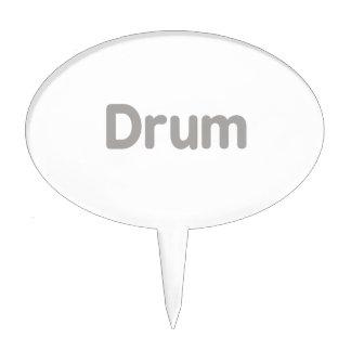 drum text grey music design cake topper