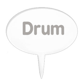 drum text grey music design cake toppers