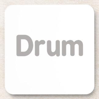 drum text grey music design drink coaster