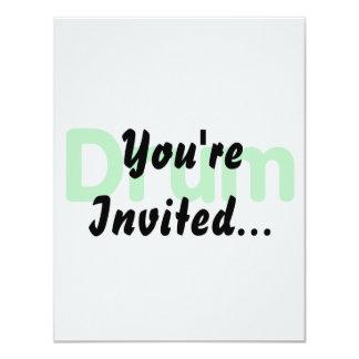 drum text mint music design 4.25x5.5 paper invitation card