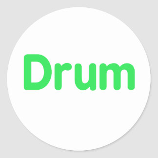 drum text mint music design classic round sticker