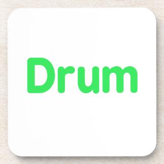 drum text mint music design coaster