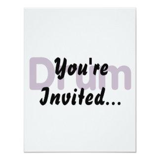 drum text purple music design 4.25x5.5 paper invitation card