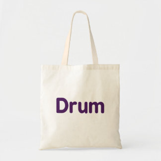 drum text purple music design budget tote bag
