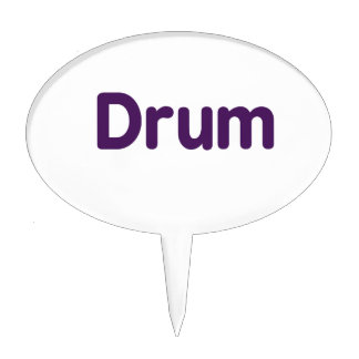 drum text purple music design oval cake topper