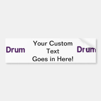 drum text purple music design car bumper sticker
