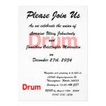 drum text red music design custom announcement