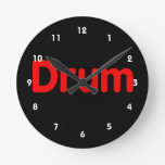 drum text red music design wall clocks