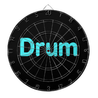 drum text teal music design dartboard with darts