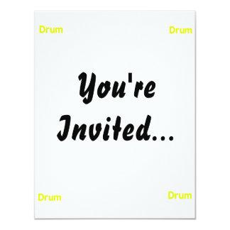 drum text yellow music design 4.25x5.5 paper invitation card