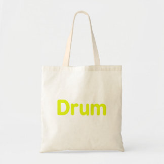 drum text yellow music design budget tote bag