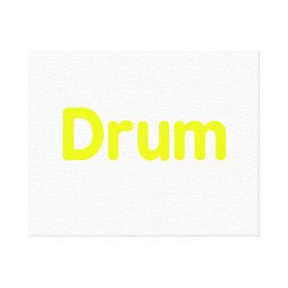 drum text yellow music design canvas print