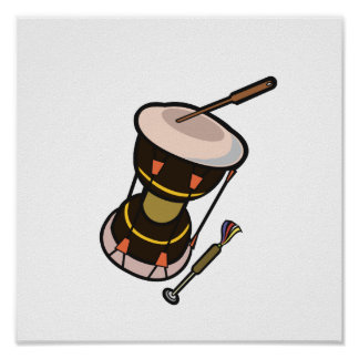 drum two headed hand drum dark turned.png poster