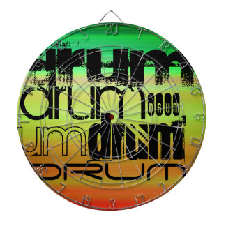 Drum; Vibrant Green, Orange, & Yellow Dartboard With Darts