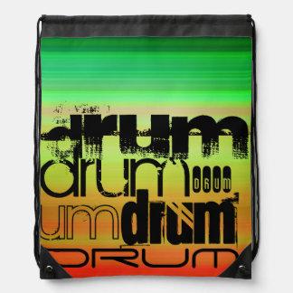 Drum; Vibrant Green, Orange, & Yellow Drawstring Backpack