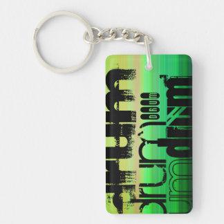 Drum; Vibrant Green, Orange, & Yellow Double-Sided Rectangular Acrylic Keychain