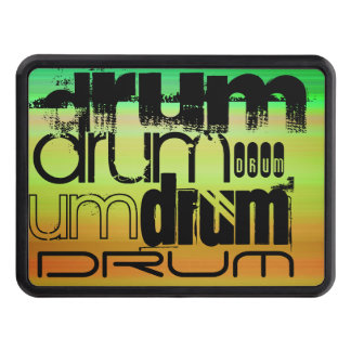 Drum; Vibrant Green, Orange, & Yellow Trailer Hitch Cover